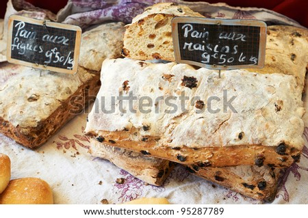 Traditional Provence bread with raisins on french market