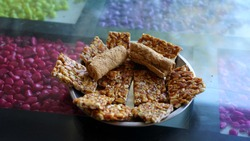 Traditional ready to eat Indian Sweet or Mithai made from groundnut,peanut and jaggery. Kids favorite nibble sweet.