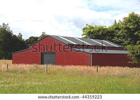 traditional red barn in a field