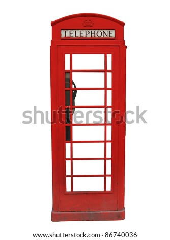 Traditional red British telephone booth isolated on white background
