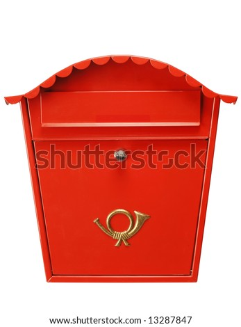 Traditional red mailbox isolated on white, shot in studio. Fantastic color and detail