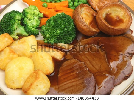 Traditional roast beef Sunday dinner.