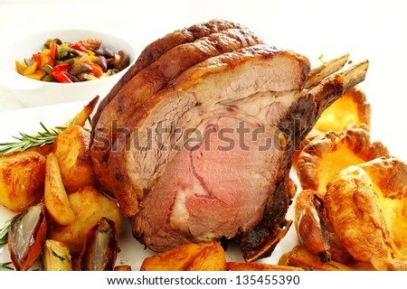traditional roast rib of beef with yorkshire pudding