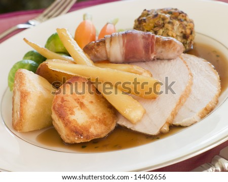 Traditional Roast Turkey with trimmings Plated