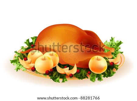 traditional roasted chicken with apples and cowberry