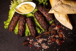 Traditional Romanian food, grilled   minced meat with spices