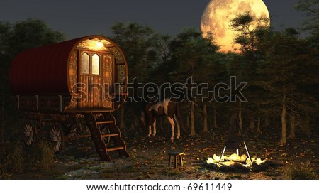 Traditional Romany Gypsy wagon and camp with horse and campfire under a full moon, 3d digitally rendered illustration