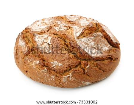 Traditional round rye bread isolated on white background