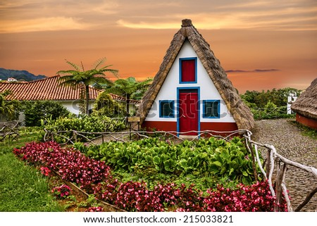 Traditional rural house in Santana Madeira, Portugal. Sunset view