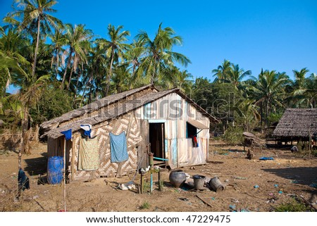Traditional rural house made out of natural material on the poorer west coast of Ngwe Saung, Myanmar.