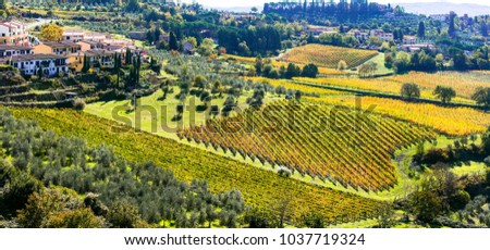 Traditional rural landscapes and villages of Tuscany. Chianty vine region of Italy