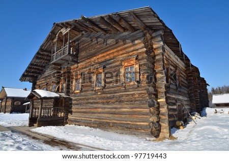 Traditional rural wooden house in north Russia. Vologda.