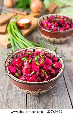Traditional Russian beetroot salad