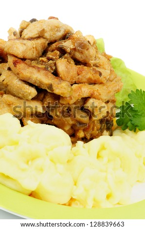 Traditional Russian Dish: Beef Stroganoff with Mashed Potato and Greens on Yellow Plate closeup