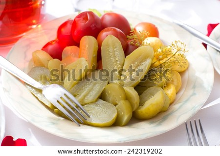 Traditional Russian dish boiled potato with pickles