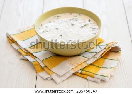 Traditional russian dish okroshka closeup photo
