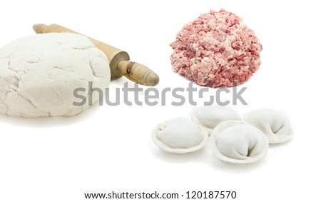 Traditional Russian dishes. Siberian pelmeni