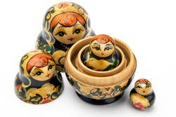 Traditional Russian doll on white isolated background