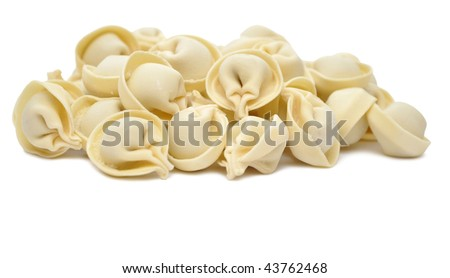 "Traditional Russian food ""pelmeni"" isolated on white"