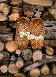 traditional Russian footwear - Old Bast shoes and daisies. Russian national shoes - Lapti, bast sandals. Shoes made from bark of tree. rural bast shoes on wooden backdrop, pile of firewood.