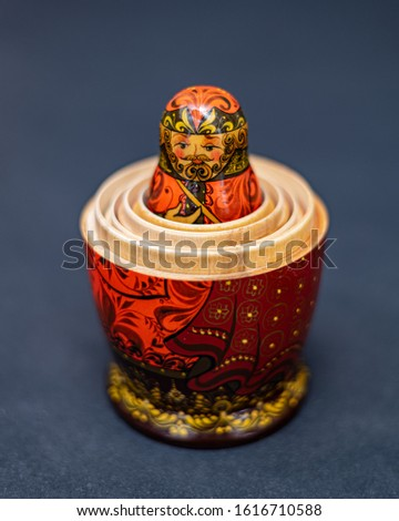 Traditional Russian matryoshka doll nested inside larger dolls against gray background, doll within a doll, object within an object, metaphor for shell companies, Russian nesting doll 7