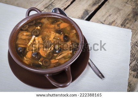 Traditional Russian meat soup with salty cucumbers