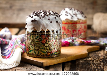 Traditional Russian Orthodox Easter bread the kulich - stock photo