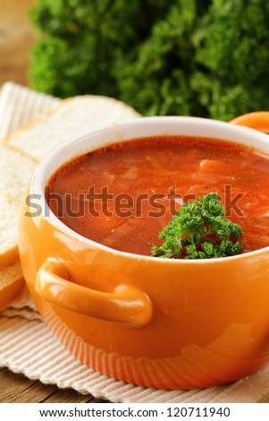 traditional Russian Ukrainian food soup borscht