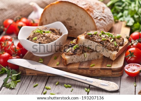 traditional rye bread with pate