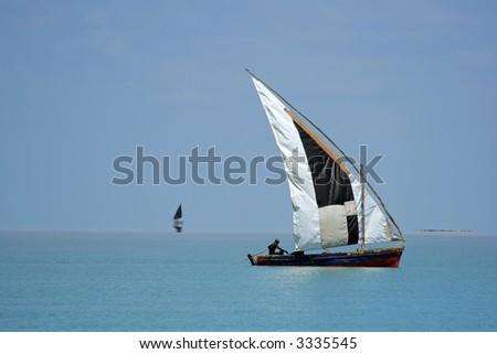 Traditional sail boat called a dhow, Vilanculos coastal sanctuary, Mozambique
