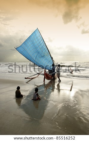 Traditional sailing boat on the beach
