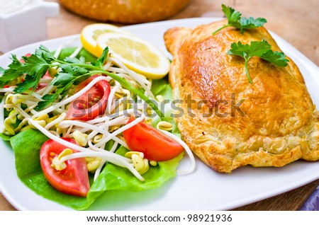 Traditional salmon in puff pastry