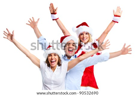 Traditional Santa Claus and group of happy people. Christmas party.  Isolated on white background.