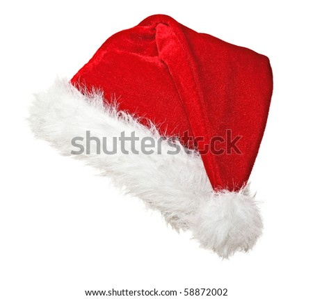 traditional santa claus hat on white background