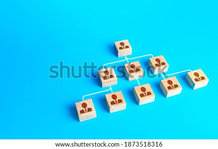 Traditional schematic visualization of the company structure from blocks with people. Business personnel management. Command and subordination. Effective optimization of company hierarchical system Stock photo ©