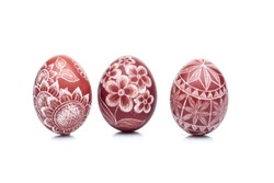 traditional scratched handmade Easter egg isolated on white background