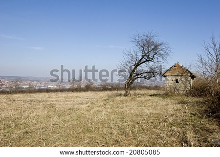 traditional Serbian mud house in field