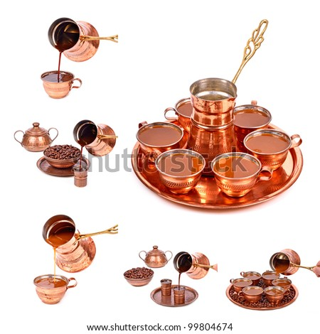 Traditional Serving Turkish coffee,collage isolated white background