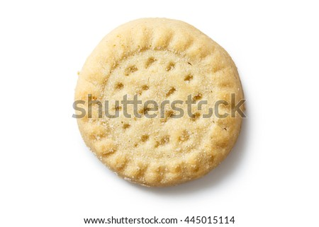 Traditional shortbread round biscuit isolated on white from above.