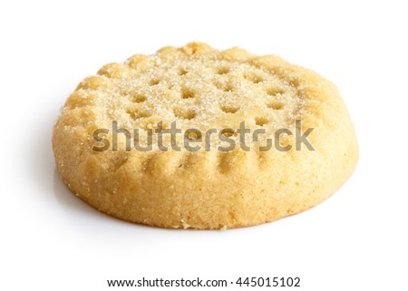 Traditional shortbread round biscuit isolated on white in perspective.