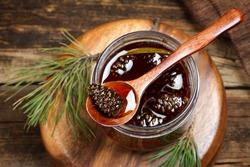Traditional Siberian dessert - young pine cones jam