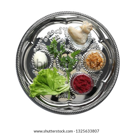 Traditional silver plate with symbolic meal for Passover (Pesach) Seder on white background, top view #1325633807