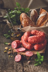 Traditional smoked sausages: ham, gammon, pork loin, home-style sausages with bead