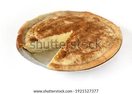 Traditional South African milk tart slice isolated on white background Photo stock ©