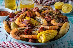 Traditional Southern U.S. Low Country boil. A Summertime feast.