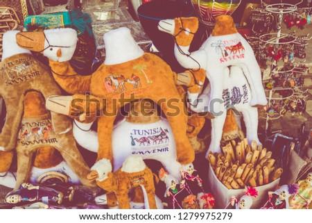 Traditional souvenir in tunisian market, Tunisia.