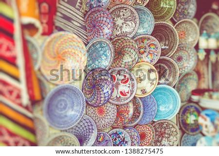 Traditional souvenir in tunisian market, Tunisia. Selective Focus.