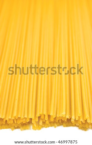 Traditional spaghetti pasta background, isolated closeup, shallow DOF Pattern Copy Space