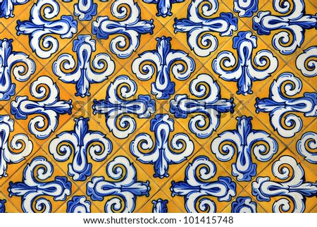 Traditional spanish ceramic tiles in yellow and blue