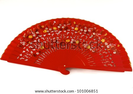 Traditional Spanish Flamenco Red Fan